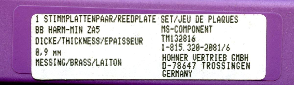 con Set di viti incluso in ottone per armonica in tonalit/à si bemolle Hohner MS Set di piastre porta ance da 0,9/mm