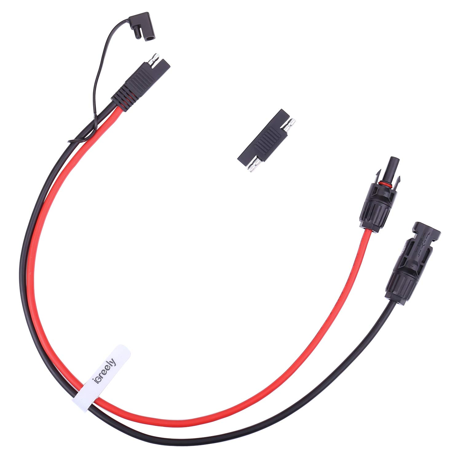 iGreely MC4 to SAE Adapter 10AWG Cable Conector with SAE Polarity Reverse Adapter for RV Panel Solar 2ft/60cm by iGreely
