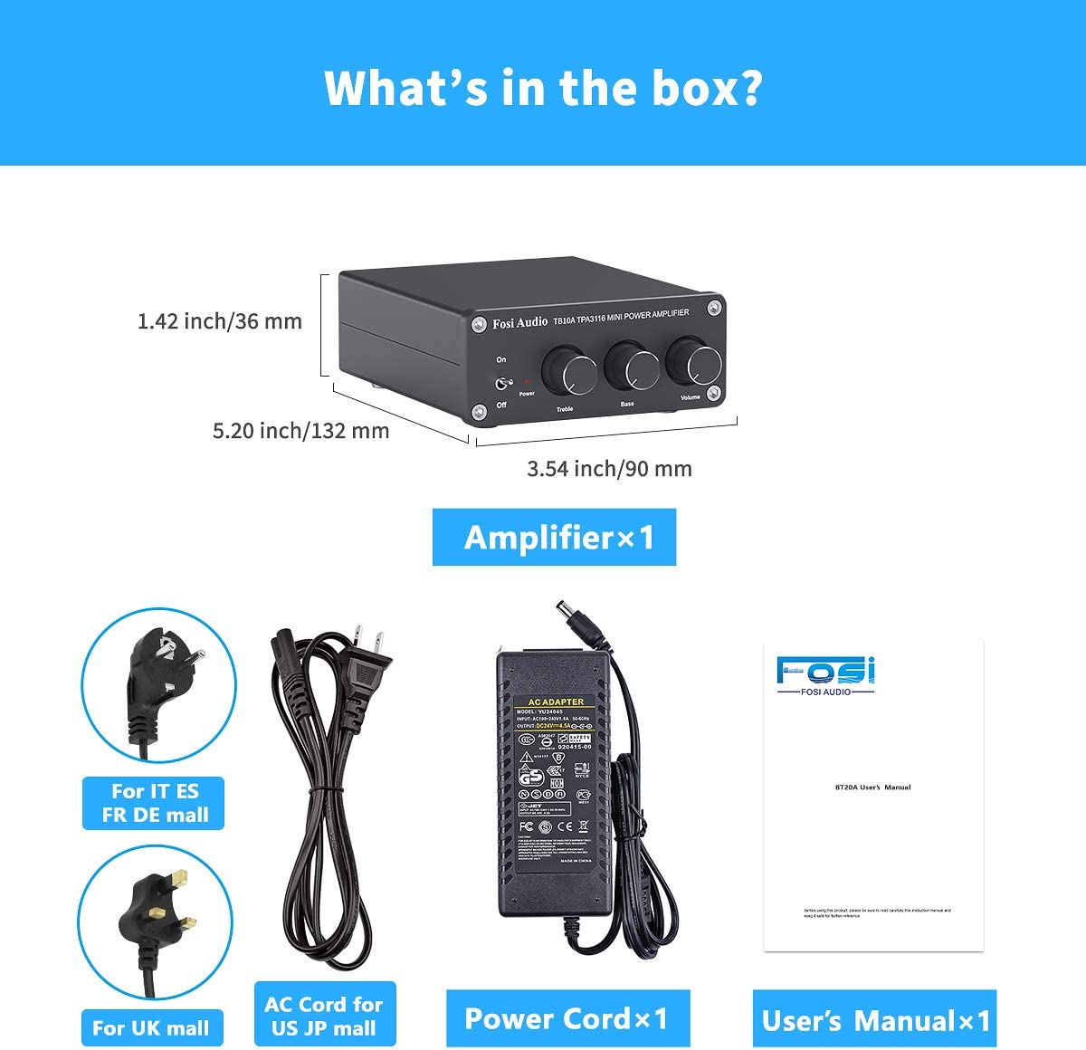 2 Channel Stereo Audio Amplifier Receiver Mini Hi Fi Class D Integrated Amp 2 0ch For Home Speakers 100w X 2 With Bass And Treble Control Tpa3116 Tb10a With Power Supply Mp3