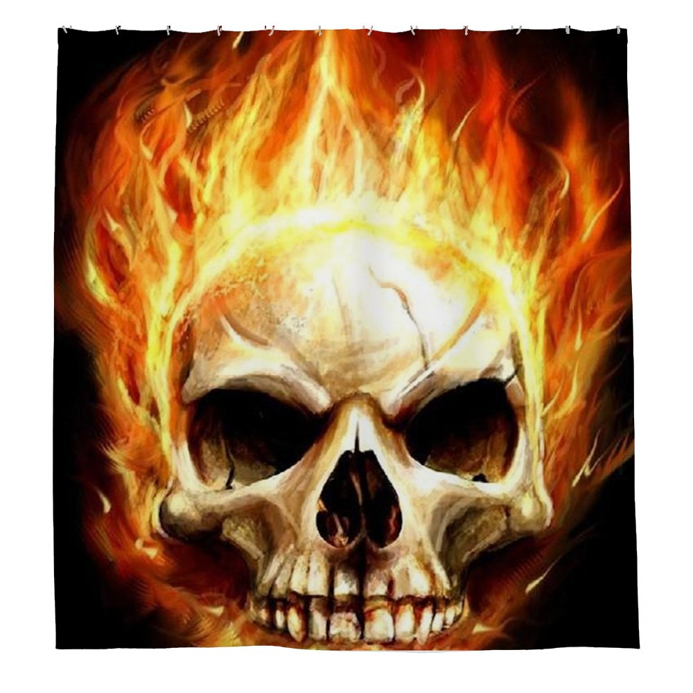 Polyester Burning Skull Shower Curtain 180 Cm X Includes Rings Amazoncouk Kitchen Home