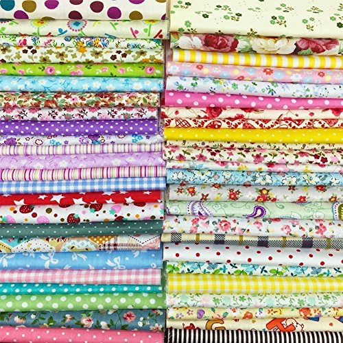Misscrafts 50pcs 8″ x 8″ (20cm x 20cm) Top Cotton Craft Fabric Bundle Squares Patchwork DIY Sewing Scrapbooking Quilting Dot Pattern