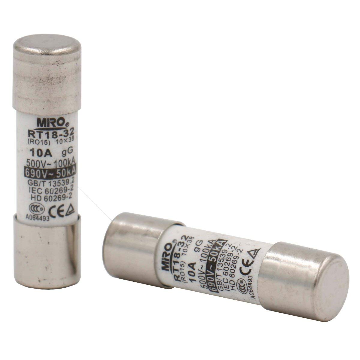 RO15 10 38 mm 10A 500V CE T/üV Pack of 20 Heschen Cylindrical Ceramic Tube Fuse Link RT18-32