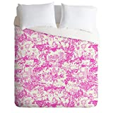DENY Designs 50873-dlikin Rachelle Roberts Farm Land Toile in Pink Duvet Cover, Lightweight, King Size