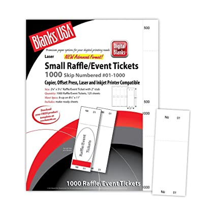 white numbered 1 1000 raffle tickets 8up on 85x11 cover stock sheet 125 sheets