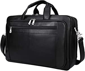 Augus Mens Leather Briefcase Messenger Bag, Waterproof Travel Business Duffle Bags for Men 17 Inch Laptop Bag(black-1)