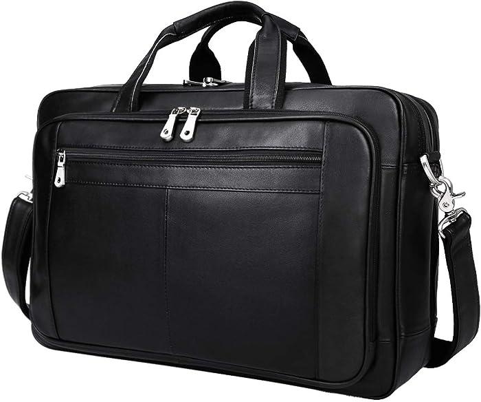 Augus Mens Leather Briefcase Messenger Bag, Waterproof Travel Business Duffle Bags for Men 17 Inch Laptop Bag(black-1)