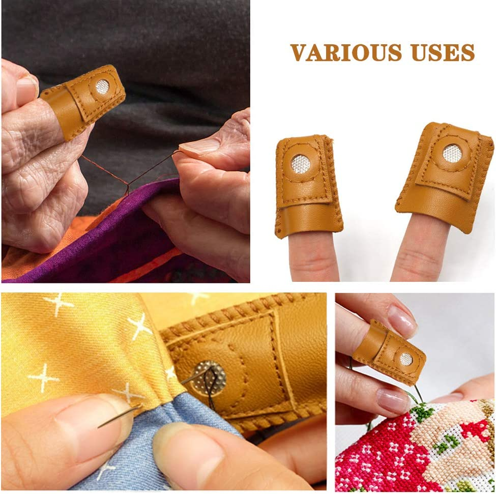 S Leather Thimble Finger Protector Comfortable Durable S//M//L Size Finger Cots for Leather DIY Crafts Sewing