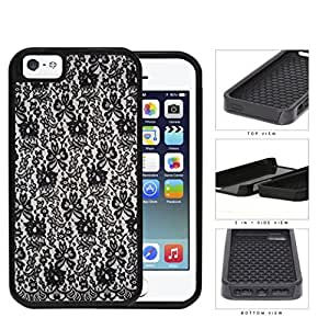 Girly Tight Black Lace Pattern 2-Piece Dual Layer High Impact Rubber Silicone Cell Phone Case Apple iPhone 5 5s