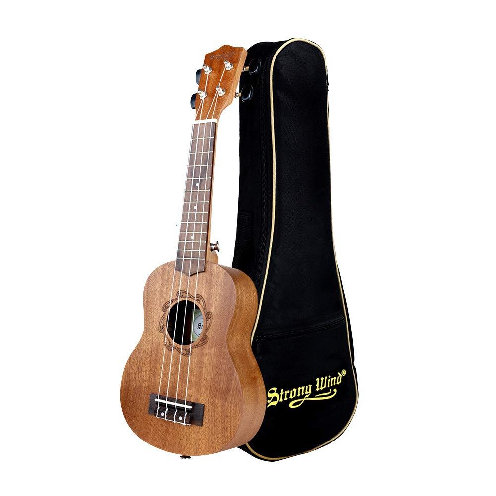 Soprano Ukulele Mahogany 21 inch Hawaiian Ukelele 4-String Starter With Case for Beginners Music Lover
