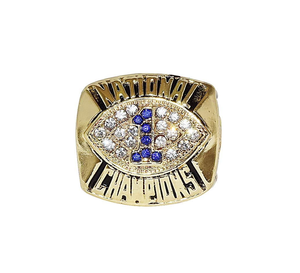 PENN STATE UNIVERSITY NITTANY LIONS (Coach Joe Paterno) 1986 BCS NATIONAL CHAMPIONSHIP Vintage High Quality Replica NCAA Basketball Gold Championship Ring with Cherrywood Display Box