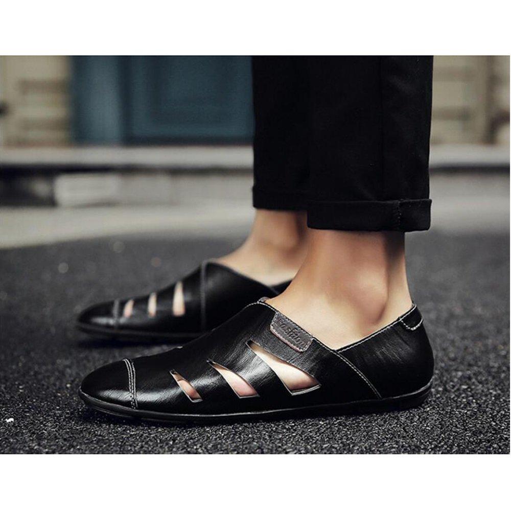 Herren Wandern Street Sandalen Größe Fashion Wandern Herren Sandalen Herren Leder Schuhe – Strand Schuhe – Groß Größe Casual Schuhe UK Größe 6–14 Single schuhe schwarz 5399f6
