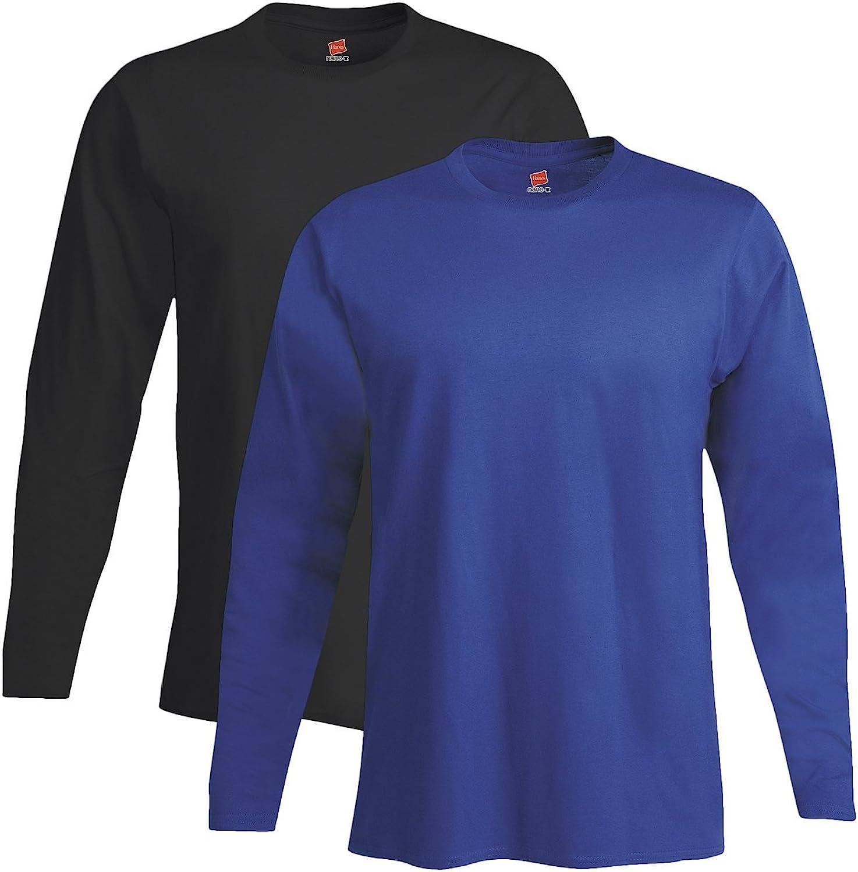 Hanes mens 4.5 oz. 100% Ringspun Cotton nano-T Long-Sleeve T-Shirt(498L)-BLACK/DEEP ROYAL-L