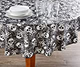AAN Black & White Skulls Halloween PEVA Round Tablecloth, (60'')