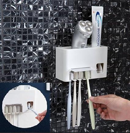 Soporte para cepillos de dientes automático manos libres a prueba de pasta de dientes exprimidor y