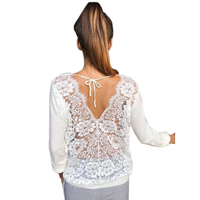 Cinnamou Camisas y blusas para mujer casual sin espalda tops de encaje de las señoras mangas