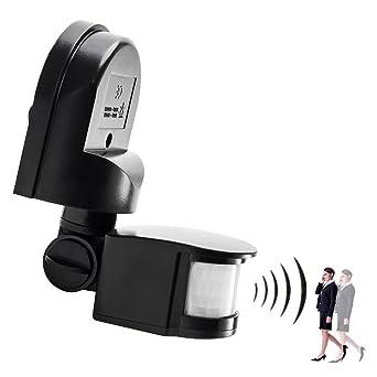 Interruptor Sensor Movimiento crepuscular exterior interior Sensor de presencia impermeable IP44 antipolvo negro
