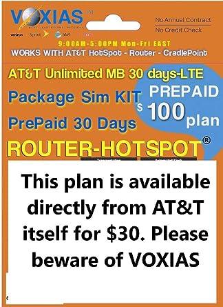Unlimited Data SIM AT&T 30 Days 4G LTE Hotspot Cradlepoint