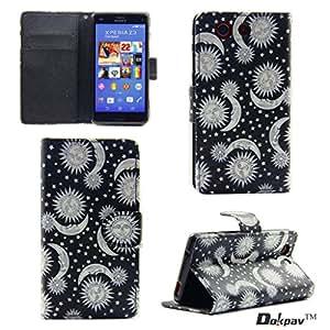 Dokpav® Sony Xperia Z3 Funda Ultra Delgada Fina Flip PU Cuero Casco Funda Cascara Duro para Sony Xperia Z3 Slip compartimentos para tarjetas (Sol y luna)