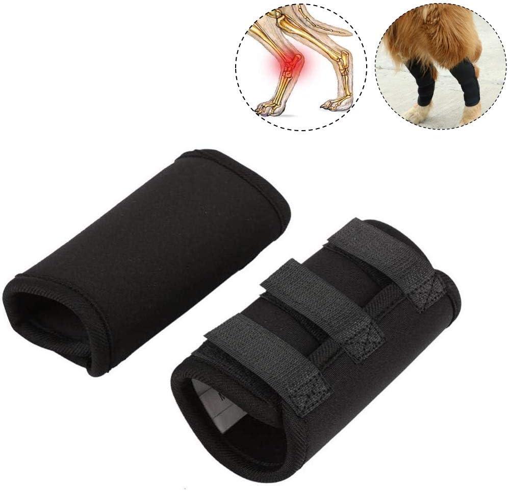 Smandy Almohadillas para la Rodilla del Perro, 1 par de Patas Delanteras del Perro Brace Rodillas Mascota Lesión quirúrgica Vendaje Wrap Heal Protector de heridas(Negro, m)