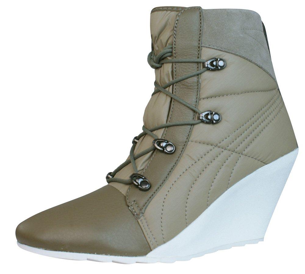 Puma Karmin Bellows Wedge Damen Stiefel - Schuhe  38.5 EU|Braun