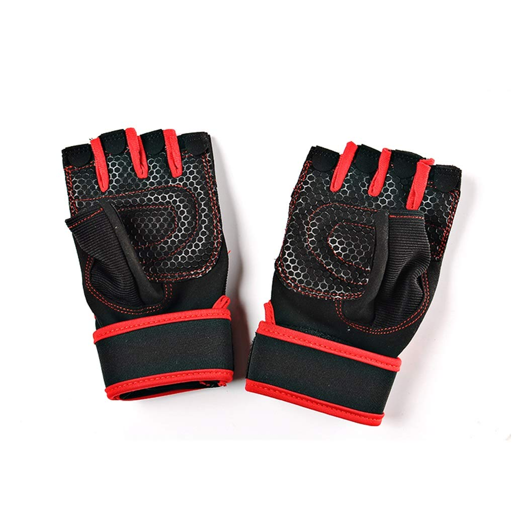 Gym Weight Lifting Gloves Workout Fitness Bodybuilding Breathable Powerlifting Wrist Support Training Exercise (Size : L) boyang