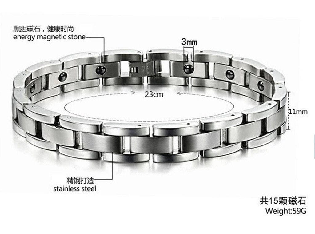 Feraco Men Sleek Magnetic Therapy Bracelet Pain Relief For Arthritis with Link Removal Tool,9 inch by Feraco (Image #3)