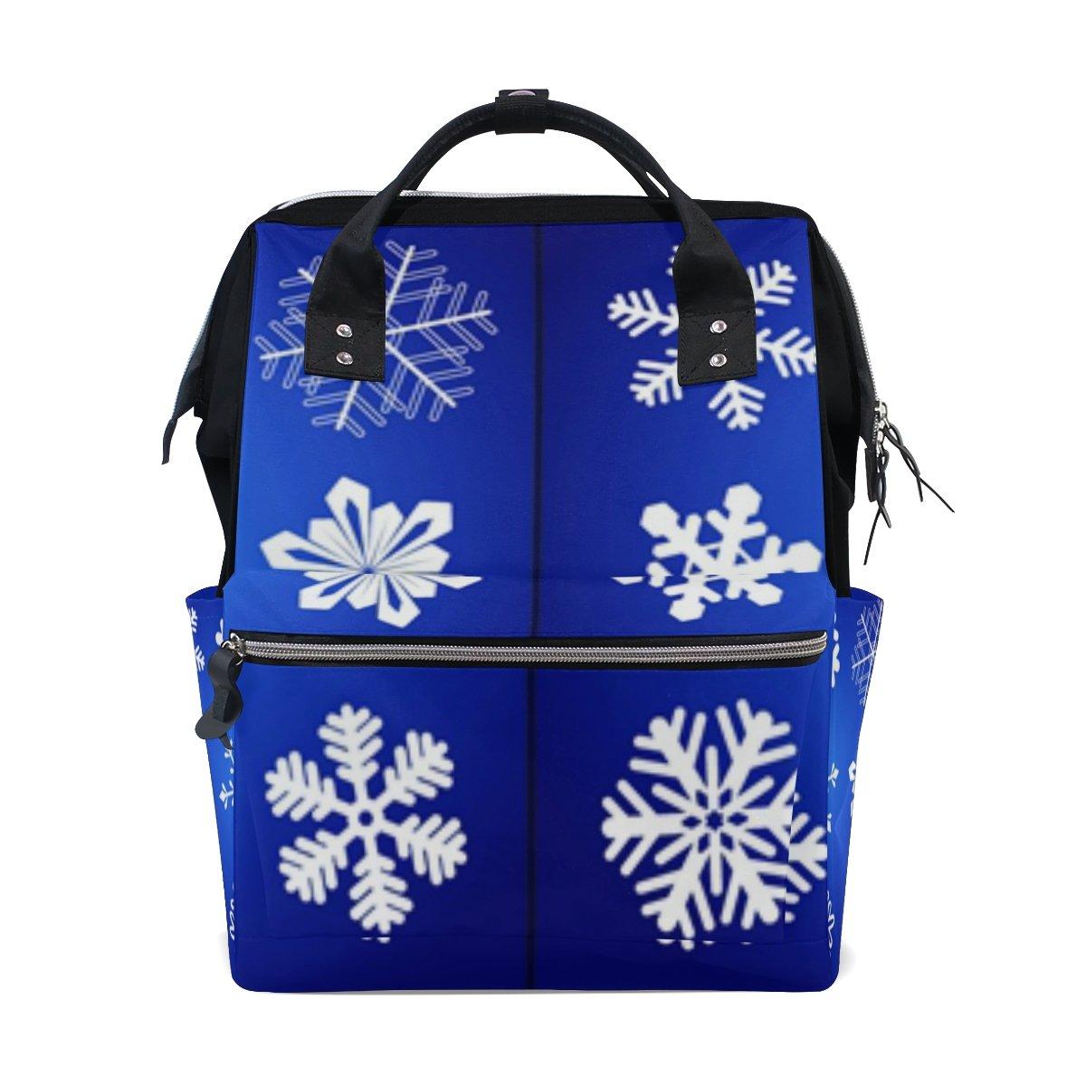 JSTeLノートカレッジバッグ学生旅行クリスマス雪片スクールバックパックショルダートートバッグ   B078N46N9B