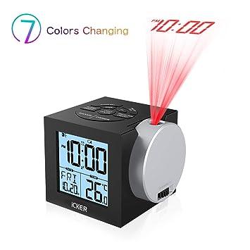 Amazon.com: iCKER Reloj despertador de proyección para ...