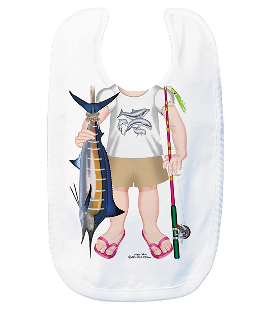 Just Add A Kid Baby Girl's Saltwater Fishing Girl 625 Baby Bib 0-6 Months White