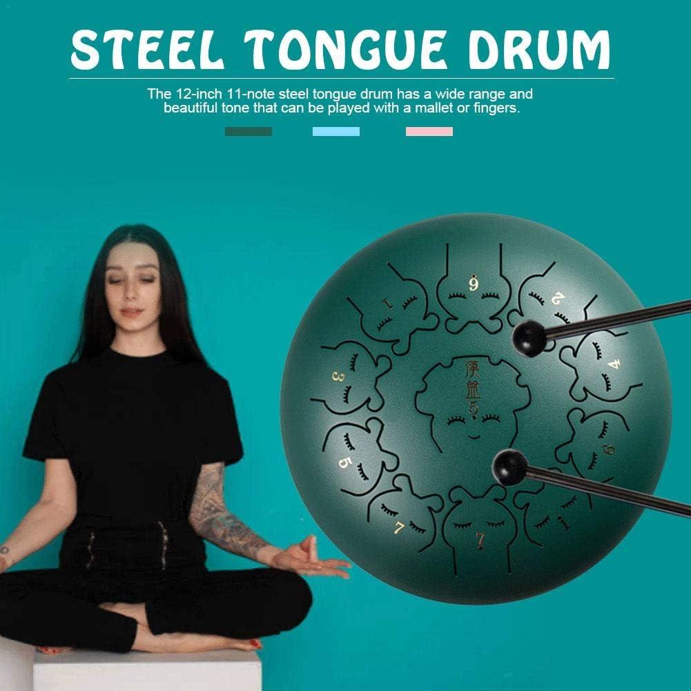 Steel Tongue Drum Steel pan Drum Mallets Carry Bag Note Sticks per Meditazione Yoga Sound Healing Lacyie Tamburo in acciaio 12 Pollici 11 Note Tamburo Hand Pan Strumento a Percussione