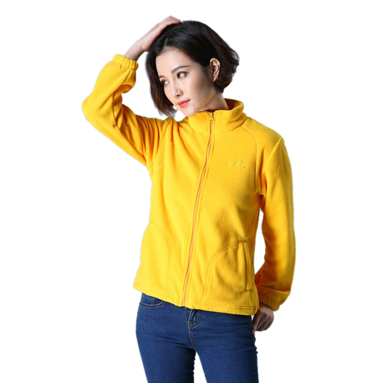 Elonglin Womens Fleece Jacket Full Zip Stand Collar Sportwear Top Outwear Yellow2 Bust 36.2''(Asie S) by Elonglin