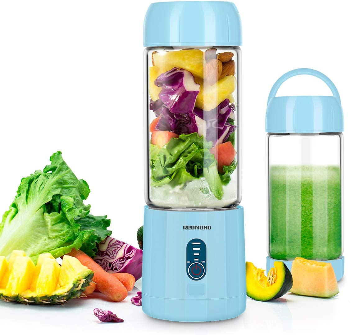 Portable Smoothie Blender, REDMOND USB Rechargeable Blender 4000mAh with 480ml Glass Travel Bottle, 6 Stainless Steel Blades, Battery Indicator for Shakes and Smoothies Outdoor (Baby Blue)