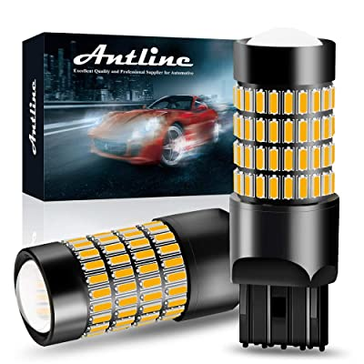 7443 LED Bulbs, ANTLINE Super Bright 4014 102-SMD 7440 7441 7443 7444 T20 992 W21W LED Bulbs with Projector for Turn Signal Blinker Lights, Parking/Running Side Marker Lights, Amber Yellow(Pack of 2): Automotive