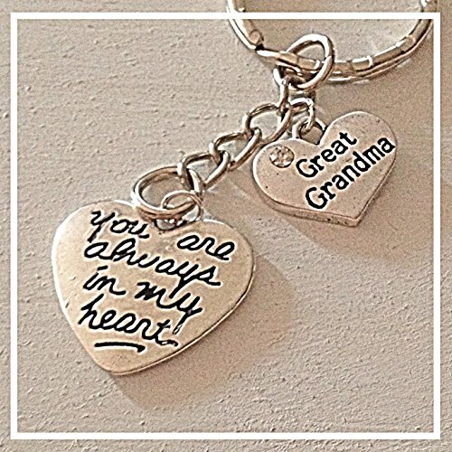 Great Grandma Silver Charm Keychain You Are Always in My Heart Gift of Love