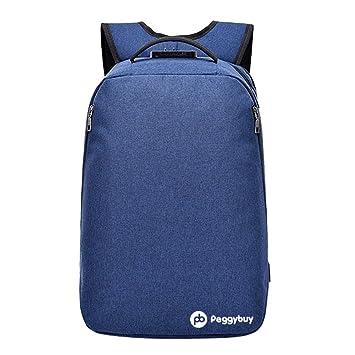 PB PEGGYBUY - Mochila de lona para ordenador portátil con carga USB para mujer y hombre (azul): Amazon.es: Hogar