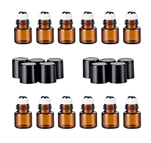 12PCS Mini Amber Glass Roller Bottles with Black Cap and Steel Roller Balls Cosmetic Makeup Storage Packing Holder Jar Pots Essential Oil Perfume Aromatherapy Sample Attar Vials DIY Beauty Tools(1ml)