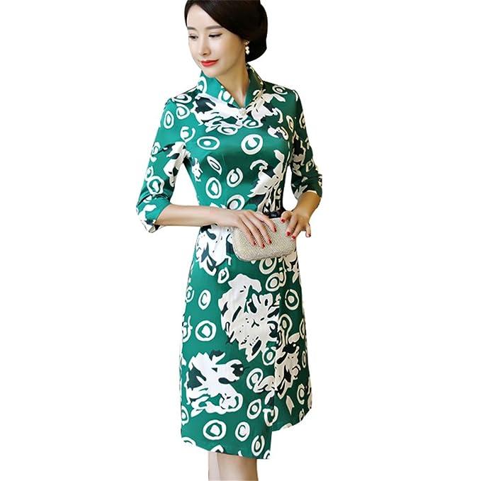 Amazon.com: Vestido chino de mujer tradicional Cheongsam ...