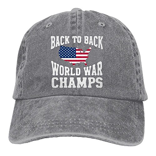 2018 Adult Fashion Cotton Denim Baseball Cap Back to Back World War Champs-1 Classic Dad Hat Adjustable Plain ()