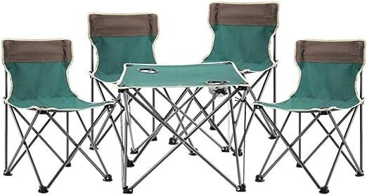 Mesa Plegable -GR Mesa plegable al aire libre Mesa portátil y silla Mesa plegable de cinco