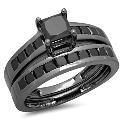 235 carat ctw black rhodium plated sterling silver black diamond engagement ring set - Black Wedding Ring Set