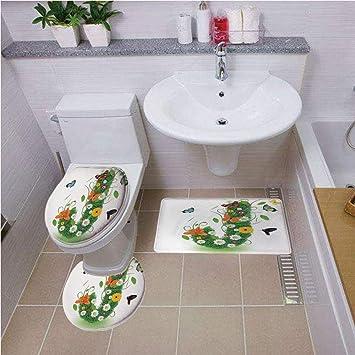 Amazon com: Bath mat Set Round-Shaped Toilet Mat Area Rug Toilet Lid