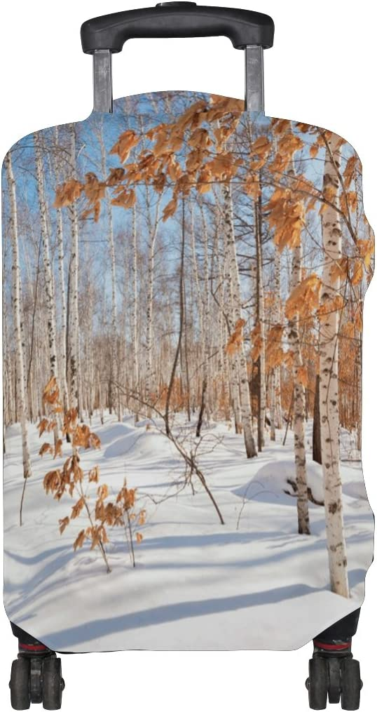 LEISISI Luggage Cover Winter Birch Forest Protector Cover Elastic Suitcase Cover XL 31-32 in