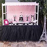 Handmade Black Tulle Table Skirt for Baby Shower Decoration Princess Party Candy Table
