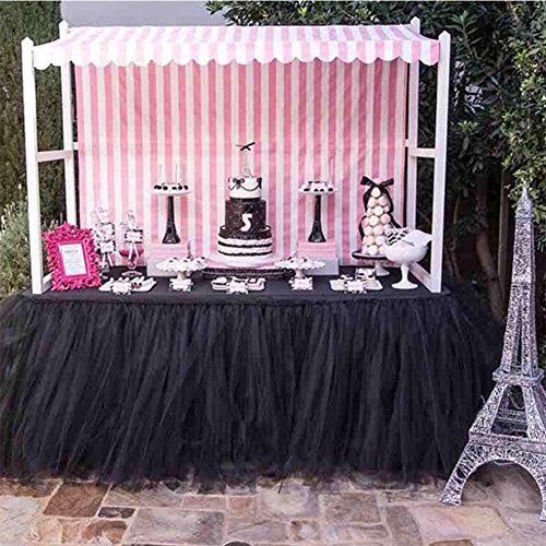 Handmade Tutu Tulle Table Skirt for Princess Party Candy Table Wedding Head Bridal Baby Shower Dessert Home Decor (black) (Babyshower Candy Table)