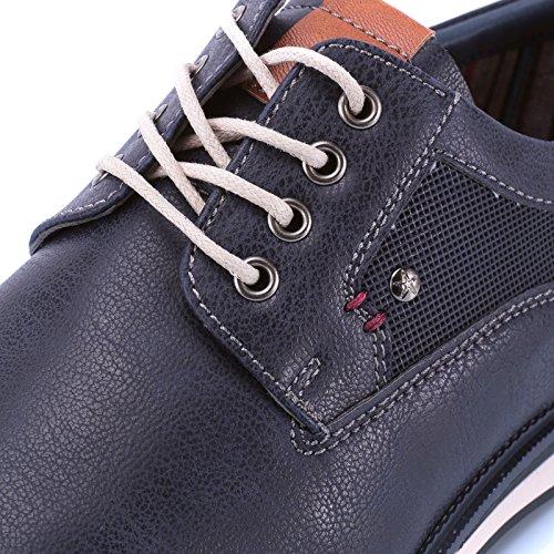 Scarpe MForshop Sportive Casual Blu Mocassino Pelle y43 Lacci Eco Sneakers Stringata Uomo apq1pS