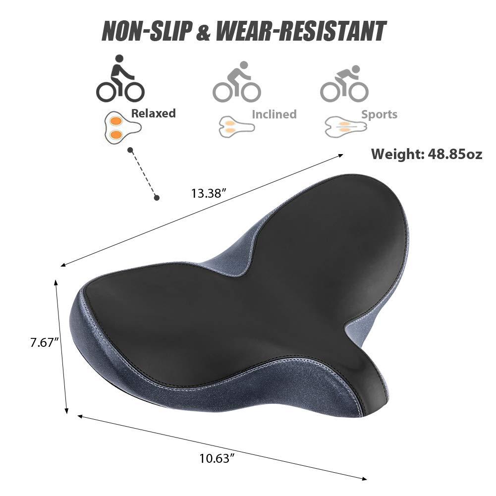 YLG Oversized Comfort Bike Seat Comfortable Replacement Bike Saddle Memory Foam Soft Bike Saddle Waterproof Universal Fit Bicycle Seat for Women Men