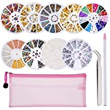 #5: Hicarer 9 Boxes Nail Art Rhinestones, Mix Size Nail Beads Glitter Rhinestones Stone Gold Metal Studs Irregular 3D Nail Decoration with 1 Piece Wax Pen Rhinestone Picker and Tweezer in Storage Bag