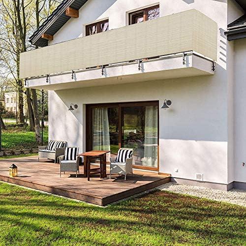 WUZMING バルコニープライバシー画面、視線を遮る風防紫外線安定庭園パティオフェンスHDPE、51サイズ (Color : Beige, Size : 120x360cm)