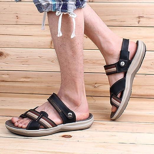 BNMZX Sandali da Uomo in Pelle da Uomo, Scarpe da Spiaggia