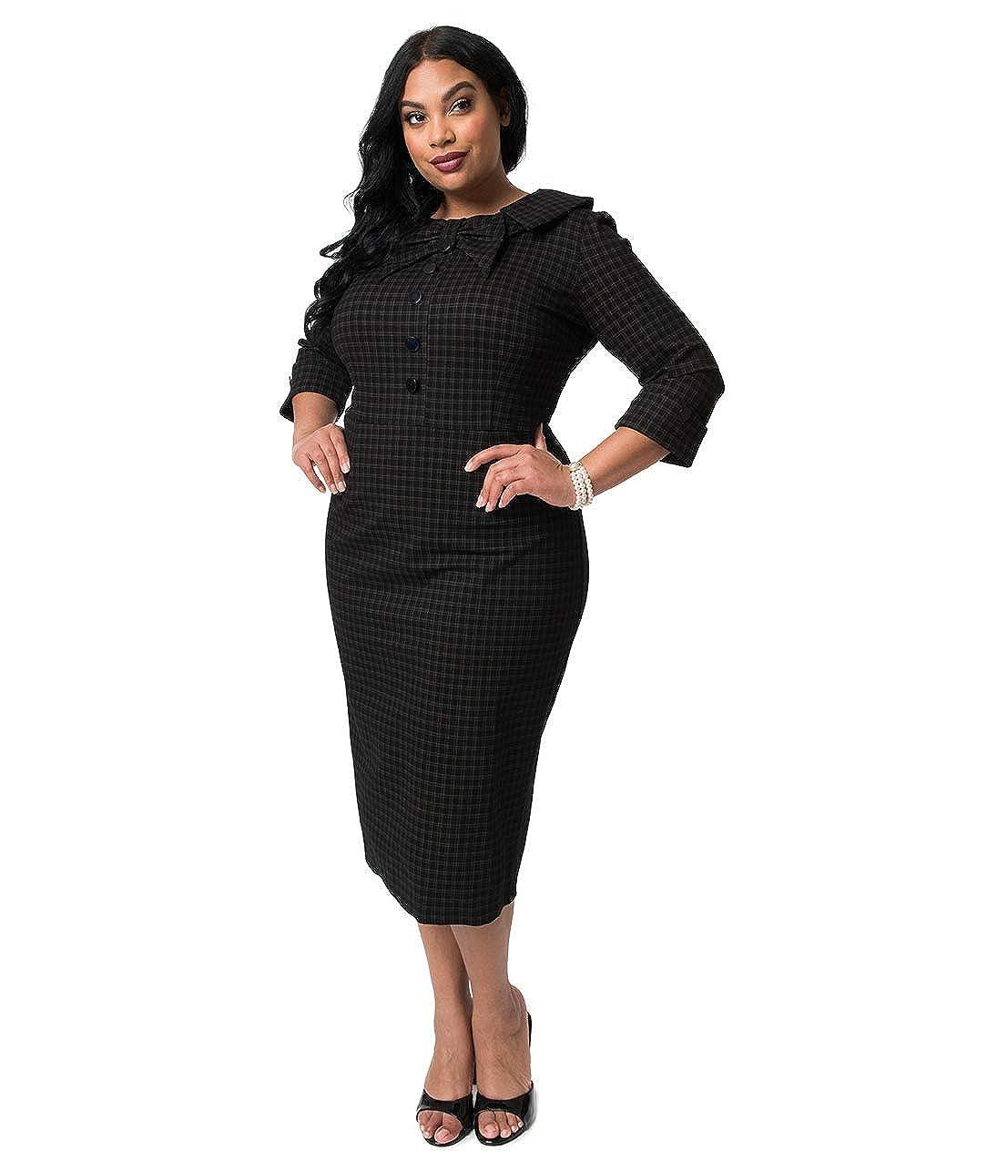 Plus Size 1940s Style Black Plaid Stretch CEO Wiggle Dress ...